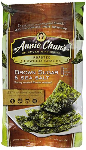 Annie Chun's Roasted Seaweed Snacks, Brown Sugar and Sea Salt, 0.35 Ounce (Pack of 12)