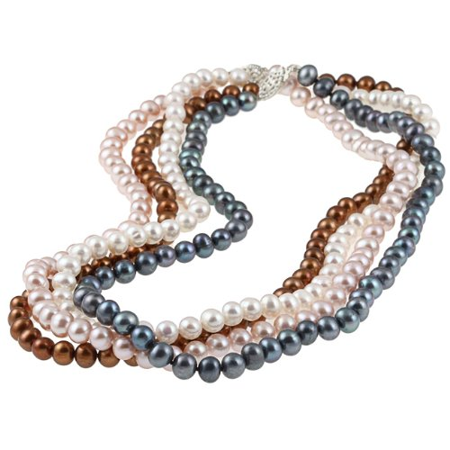 Sterling Silver Four-Piece Freshwater Pearl Necklace Set (6-7 mm)