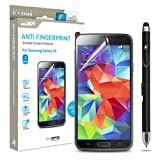 Samsung Galaxy S5 Screen Protector Sentey® Anti Fingerprint Invisible (Pack of 3) Ls-13205 Bundle with Free Metal Stylus Touch Screen Pen {Lifetime Warranty}