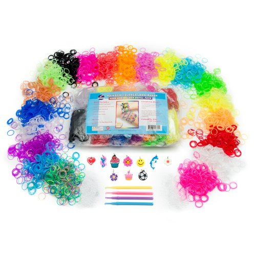 Loom Rubber Bands | Rainbow Colors - Deluxe Refill Bracelet Set | 4000 Bands - 200 each of Assorted Colors - Solids - Neons - Glow in the Dark - Glitters - Tie Dye | Accessories - Charms for Bracelets - S Clips - Hooks | 100% Compatible with all Band Kits