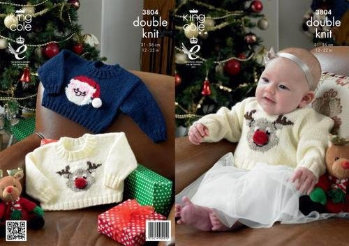 King Cole Knitting Pattern 3804 : Baby/Toddler Christmas Santa and Rudolph the Reindeer Sweaters (12-22in)