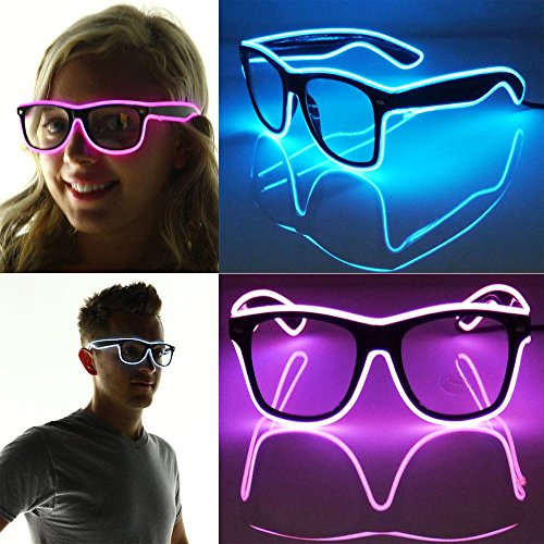 Lentenda Shutter Light up El Wire Glow Shades EDM EDC Rave Party Bar Sunglasses Music-box (white)