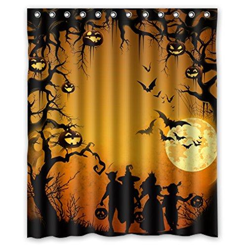 "Funny Happy Halloween Elf Kids Jack-O'-Lantern Waterproof Shower Curtain 60"" X 72"" front-973922"