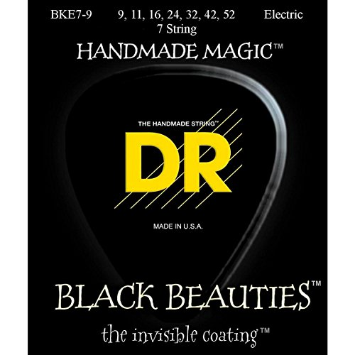 Dr Strings Electric Guitar Strings, Black Beauties - Extra-Life, Black Coated, 7-String, 9-52