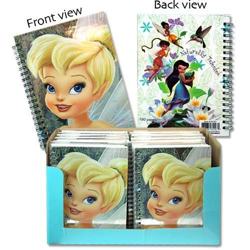 "Licensed Tinkerbell 7x5"" Hard Cover 50 Sheets Spiral Notebook"