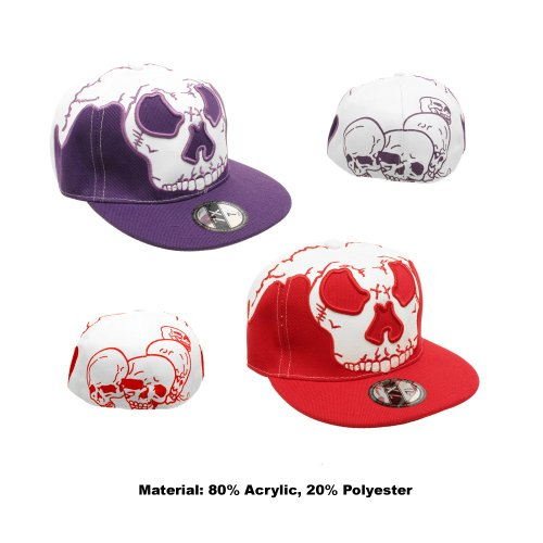 KIDS/YOUTH SKULL DESIGN FLAT PEAK RAPPER BASEBALL CAP IN RED OR PURPLE