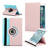 Gearonic TM 360 Degree Rotating PU Leather Case Smart Cover With Swivel Stand for Apple iPad Air - Pink & Light Blue