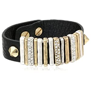 The SAK Leather Pave Slide Black Bracelet, 7