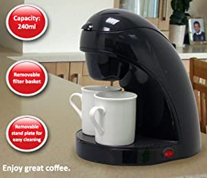 Desktop Coffee Maker in Black for Filter Coffee with 2 White Ceramic Mugs, Makes 2 Cups at a Time