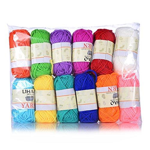 LIHAO-Estambres-Acrlicos-Hilados-de-Lana-para-Tejer-con-Ganchillos-y-Arte-Manualidades-Paquete-de-12-ovillos-12-colores-26movillo