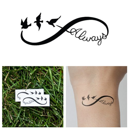 tattify bird infinity sign temporary tattoo continuum set of 2 tattify beautil. Black Bedroom Furniture Sets. Home Design Ideas