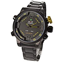 Mudder Mens Army Military LED Date Week Alarm Sports Quartz Wrist Watch - Yellow Button