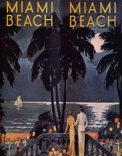 COUPLE BEACH SAILBOAT MIAMI BEACH FLORIDA BEACH VACATION TRAVEL TOURISM SMALL VINTAGE POSTER REPRO