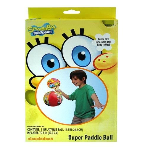 Sponge Bob Inflatable Toy Deluxe Paddle Ball Set for Outdoor or Indoor Play Inflates up to 8""