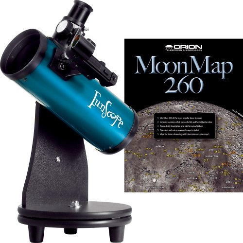 Why Choose Orion 10033 FunScope 76mm TableTop Reflector Telescope Moon Kit (Blue)