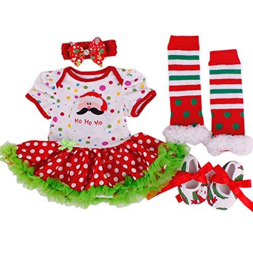 Tanzky® Baby Girl Christmas Costumes Infant Newborn Santa Tutu Dress (4Pcs) front-684571
