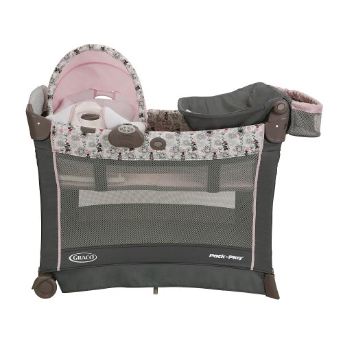 Graco Pack 'n Play Playard with Cuddle Cove Premiere Rocking Seat- Minnie's Garden
