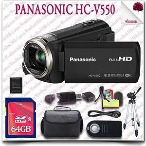"Panasonic HC-V550 Full HD Camcorder + Wireless Remote + 64GB SDHC Class 10 Card + 57"" Tripod + HDMI Cable + SLR Gadget Bag 11pc Panasonic Saver Bundle"