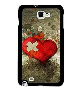 Printvisa Broken Red Heart 2D Hard Polycarbonate Designer Back Case Cover For Samsung Galaxy Note 2 :: Samsung Galaxy Note Ii N7100
