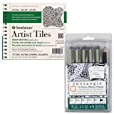 Strathmore Artist Tiles Sketch Pad Wire 6×6 (Side, Perf) 400 Series Recycled Sketch – for Pattern Drawing and Meditative Art Pack of 70 Tiles and the Sakura Zentangle 11pc Micron and Pencil set 50011