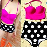 AGPtek New Arrival Kawaii Womens Lovely Shark Retro Vintage Pin Up High Waist Bikini Swimsuit Swimwear Pink Top+Polka Bottom S/M/L/XL