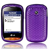 Purple LG Cookie Style T310 Hexagon Diamond Shape Hydro Soft Hex TPU Silicone Gel Skins Mobile Phone Case Cover