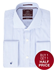 Sartorial Pure Cotton Bengal Striped Slim Fit Shirt