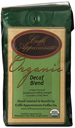 Caffe Appassionato Organic Shade Grown Decaf Blend Ground Coffee, 12-Ounce Bag (Pack of 3)