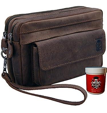 BARON of MALTZAHN Mens wrist bag SCHLUETER brown genuine leather