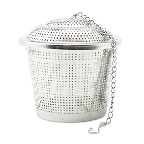 Tea Strainer, Newness 304 Food Grade Stainless Steel Tea Strainer with Lid and Extended Chain - Tea Infuser / Tea Filter for Tea Cup, Mug and Teapot, Large Size
