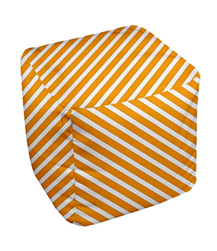E by design Stripe Pouf, 13-Inch, 2Celosia Orange - 1