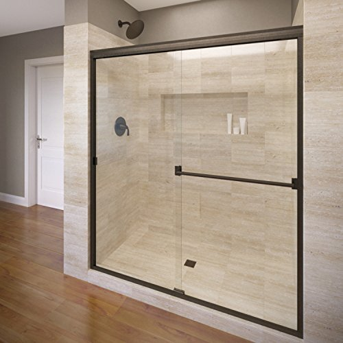Basco Classic Sliding Shower Door, Fits 56-60 inch opening, Clear Glass, Oil Rubbed Bronze Finish (Sliding Shower Doors Bronze compare prices)