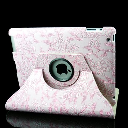 360 Degrees Rotating Stand (Pink Flower) Luxury Leather Case for Apple iPad 2 with Smart Cover Wake/Sleep Function
