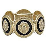 GALHAM - Rihanna Inspired Trendy Gold Black Lion Head Medallion Chunky Stretch Bangle Bracelet