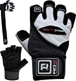 Authentic RDX Leather Pro Lift Gel Weight lifting body building gloves Gym Straps Bar Leather Grip