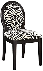 Zebra Print Dining Chair With Oval Back Design In Black