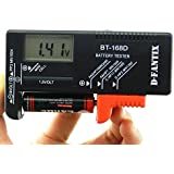 D-FantiX® Digital Battery Tester Volt Checker for AA AAA C D 9V 1.5V Button Cell Batteries (Model: BT-168D)