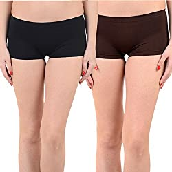 Mynte Women's Sports Shorts (MEWIWCMBP-SHR-100-99, Black, Brown, Free Size, Pack of 2)