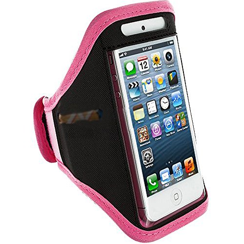 Mylife (Tm) Pink + Black Velcro Strap (Light Weight Flexible Neoprene + Secure Running Armband) For Apple Iphone 5C, 5S And 5 (5G) 5Th Generation Itouch Phone (Universal One Size Fits All + Velcro Secured + Adjustable Length + Pu Leather Trim + All Top Po