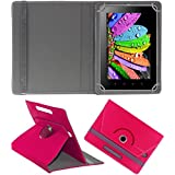 DMP 360 Degree Rotating Leather Flip Case Book Cover With Stand For SAMSUNG Galaxy Tab 3 V T116 - Dark Pink