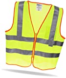 High Visibility Safety Vest with Pocket and Zipper + 3M Scotchlite Reflective Tape - ANSI Class 2 & OSHA Approved - Hi Viz/Hi Vis Clothing for Motorcycle, Running/Jogging, Bike/Bicycle, Dog Walking, Construction, Surveyor, Traffic Crossing Guard, Police, EMS, Security - Yellow/Orange Mesh for Adult Men and Women - Essential for Your Car/Auto Rescue & RV Roadside Emergency Kit - Satisfaction Guaranteed! - Size Large (L)