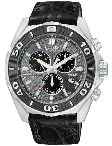 CITIZEN SIGNATURE ECO-DRIVE PERPETUAL BL5440-07H GENTS BLACK LEATHER DATE WATCH