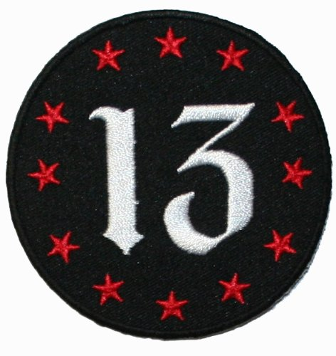 Number 13 with Twelve Red Stars Iron On Biker Applique Patch