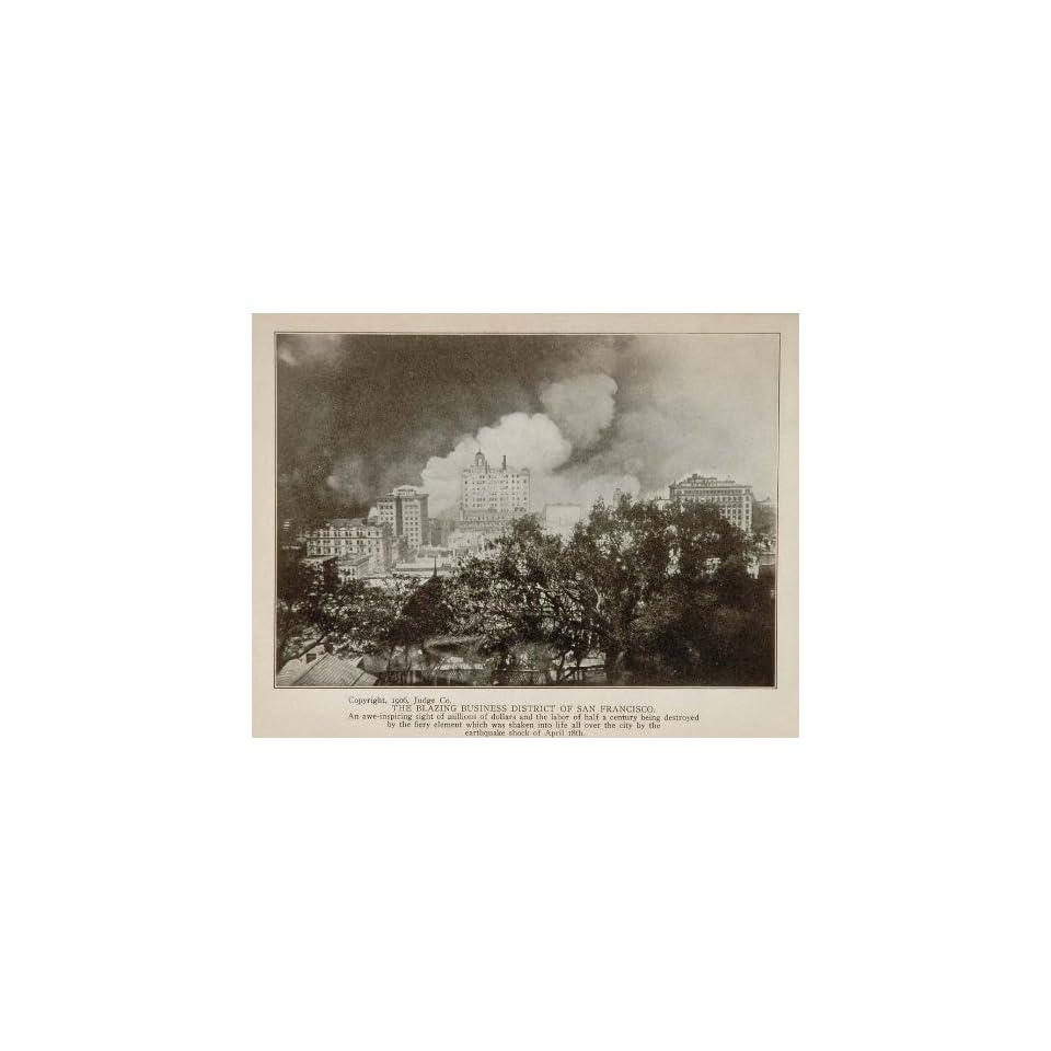 1906 San Francisco Judge Company Earthquake Fire Business Volcanic Eruption   Original Halftone Print