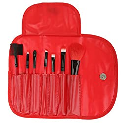 Imported 7pcs Soft Cosmetic Makeup Blush Eyeshadow Brush Set + Pouch Bag Case Red