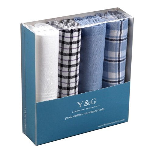 Discount Gift Idea 4 Pack Hankies Wholesale Lot Mens Cotton With Presentation Box -- Blue/White Mh1061 One Size Blue