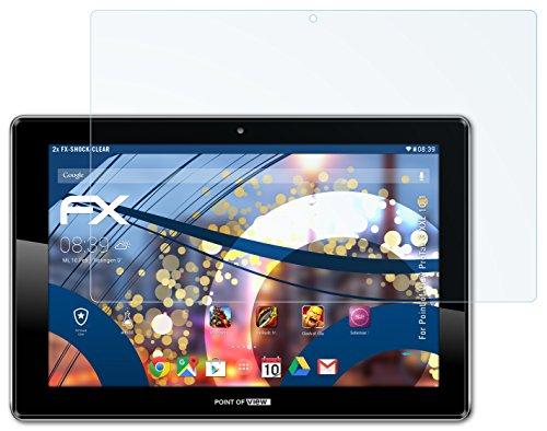 2 x atFoliX Panzerfolie Point of View ProTab 3 XXL 10.1 Folie - FX-Shock-Clear ultraklar und stoßabsorbierend