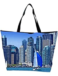 Snoogg White And Blue Boat Designer Waterproof Bag Made Of High Strength Nylon