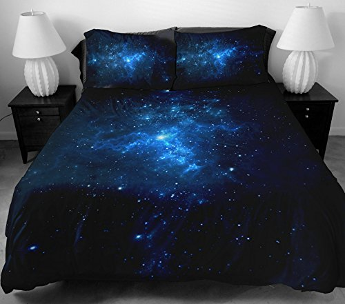 Anlye Modern Bedding Set 2 Sides Printing The Navy Blue Star Bed Linen With 2 Silk-Like Pillow Cases For Home Decorating Queen front-596146