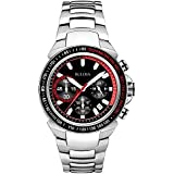 Bulova Marine Star Men's Quartz Watch with Black Dial Analogue Display and Silver Stainless Steel Bracelet - 98B195